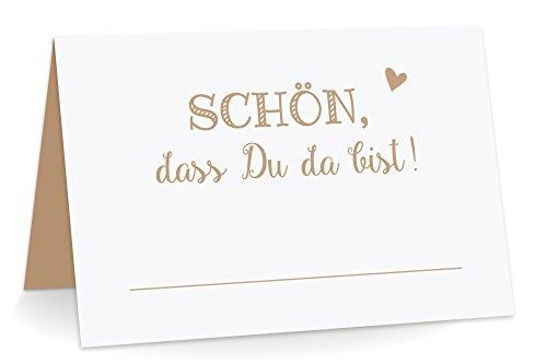 KuschelICH 50 Premium Tischkarten Schön DASS Du da Bist mit Herz braun - Platzkarten zum selbst Beschriften (Braun, 50)