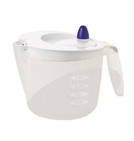 Emsa 502992 Salatschleuder mit Maßeinteilung, 2 Liter, Transparent/Weiß, Fit & Fresh
