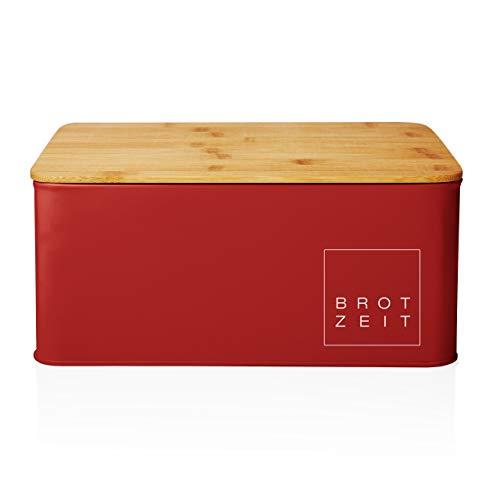 Lumaland corbeille à pain de cuisine en métal avec couvercle en bambou, rectangulaire, ca. 30,5 x 23,5 x 14 cm rouge