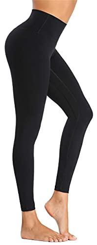 Beelu Damen Yoga Leggins Blickdicht Frauen High Waist Slim Fit Seamless Fitnesshose für Gymnastik Lange Sportleggins Stretchhose(Schwarz S)