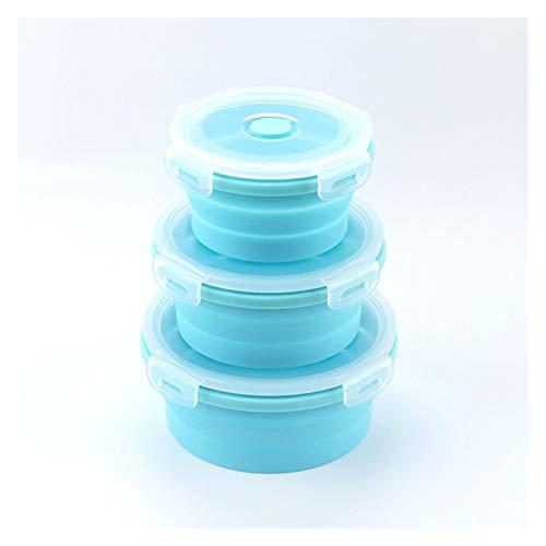 Caja plegable de silicona Silicón redondo Plegable Caja de almuerzo Conjunto Microondas Plegable Cuenco Portátil Portátil Caja de contenedores de recipiente Bocadillo Bocadillo con tapa para acampar,