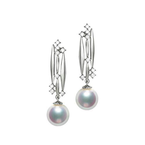 AMDXD Earrings 18K White Gold, Geometry with 8MM Akoya Pearl Women Earrings Gifts Wedding Earrings Brides, Birthday Christmas Gift for Women Mom Wife