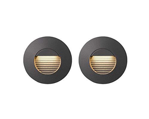 TISHMAN Paquete de 2 Lámparas LED CAELI RB IP 54, Uso Exterior, para Empotrar en Muro, Integrado LED 3 W 100-240 V 180 lm 3,000 K Luz...
