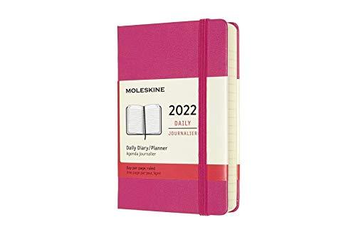 Moleskine Agenda Giornaliera 12 Mesi 2022, Daily Planner 2022, Copertina Rigida e Chiusura ad Elastico, Formato Pocket 9 x 14 cm, Colore Rosa Bouganvillea, 400 Pagine