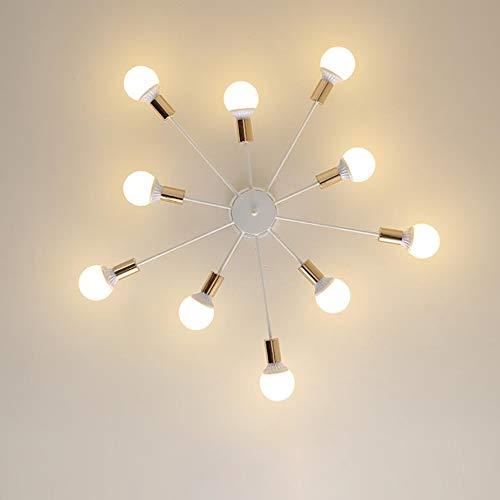 Deckenleuchten Landhausstil,Beleuchtung Hängeleuchten Pendelleuchten LED Lampen Spotleuchten E27 Leuchtsysteme Wohnzimmerlampe für Wohnzimmer Küche Büro Esszimmer Bar Restaurant Cafe, White