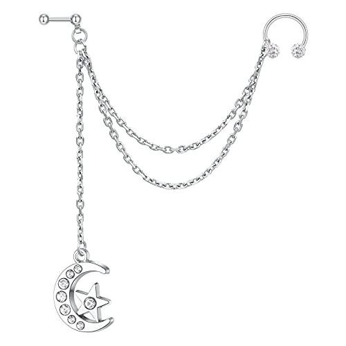 AVYRING Piercing Oreja Cartilago Ear Cuff Con Cadena Helix Diamante CZ Acero Inoxidable Luna Estrella para Mujer Hombre Plata Joyería Oreja