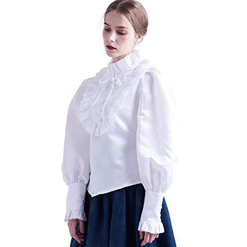 BLESSUME Mittelalter Victorian Bluse Lolita Rüschenbluse Tops (XXL, Weiß)