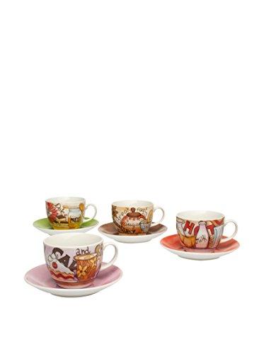 Tognana Iris Breakfast Cappuccinotassen mit Untertassen 4er Packung