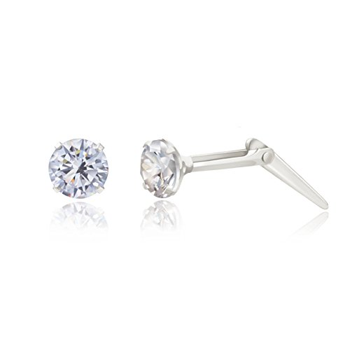 Sterling silver 3mm white cubic zirconia cz Andralok stud earrings/Gift box