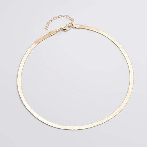 Halskette Frauen Halskette Bright Flat Snake Bone Chain Choker Einfache Kurze Schlüsselbein Klinge Kette Anhänger Halskette Schmuck Geschenk Gold-Farb