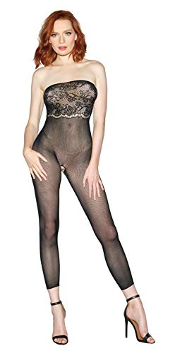 Dreamgirl Women's Multi-Way 2-In1 Sheer Body Stocking with Scalloped Lace, Black, One Size