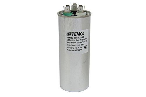 TEMCo 50+5 uf/MFD 370-440 VAC Volts Round Dual Run Capacitor 50/60 Hz AC Electric - Lot -1