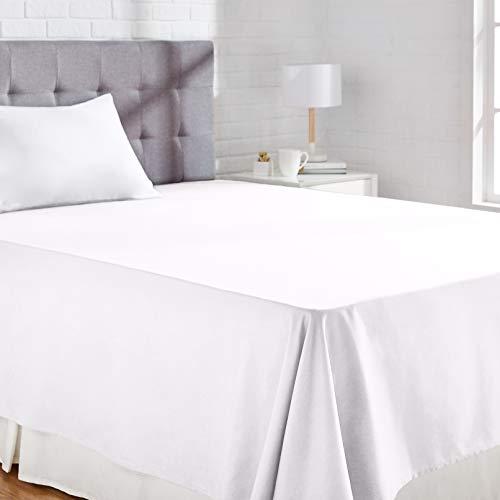 Amazon Basics Bettlaken, Poly-Baumwolle Fadenzahl 200, 180 x 260 + 10 cm - Weiß