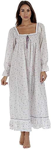 The 1 for U 100% Baumwolle Bodenlang Nachthemd - Martha - S-XXXXL - Lila Rose, XXL