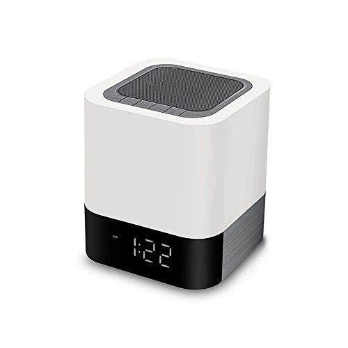 Aobay Creativa inalámbrica Bluetooth Audio Reloj despertador, altavoz Bluetooth RGB regulable de noche Noche altavoz inalámbrico de luz LED, lámpara pequeña tabla dormir dormitorio de noche romántica,