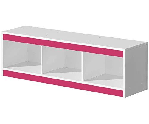 Furniture24 Hängeregal GULIVER 10 Wandschrank Wandboard Regal (Weiß/Rosa Hochglanz)