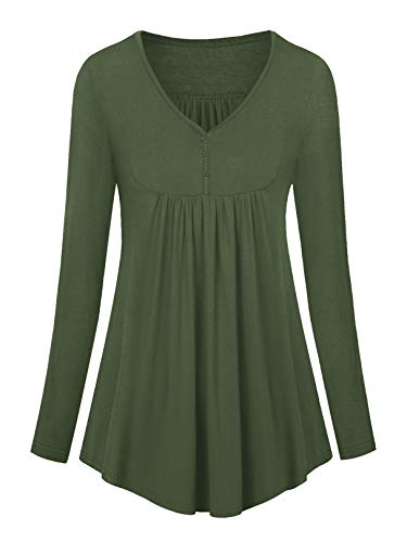 Amoretu Tunika Damen V Ausschnitt Langarm Bluse Sexy Oberteil Sommer T-Shirt Armeegrün XL
