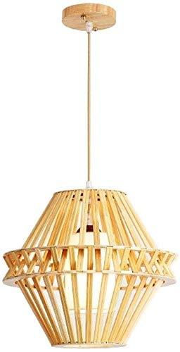 Luz colgante moderna Sencilla de bambú que cuelgan del techo de tela ligera sombra semi-incrustado instalación ajustable Altura pendiente de la lámpara de iluminación de acento de bambú Sombra Se util