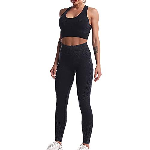Mujeres sin costuras Yoga entrenamiento trajes 2 piezas patrón cultivo tanque cintura alta polainas sujetador deportes conjuntos activos, Negro, M/3XL