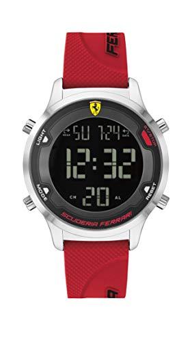 Ferrari Reloj de cuarzo para hombre con correa de silicona, color rojo, 18 (Modelo: 830757)