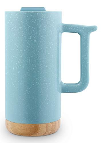 Ello Aspen Ceramic Travel Mug with Wood Base, 16 oz, Dusty Blue Speckle