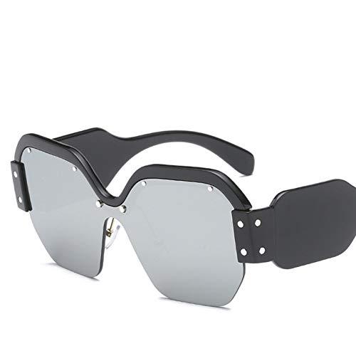 Chudanba Randlose übergroße Sonnenbrille Frauen Sonnenbrille für weiblichen großen Rahmen,Schwarz-Quicksilver