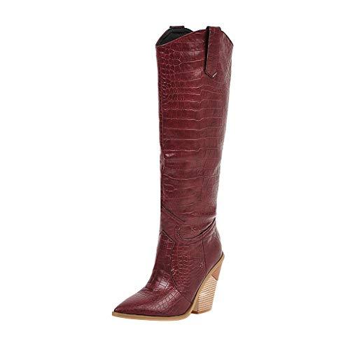 FIRMON Damen Stiefel mit Keilabsatz aus Kunstleder, Kniestiefel, für Damen und Mädchen, einfarbig, Western Rodeo Cowboystiefel Gr. 90, rot