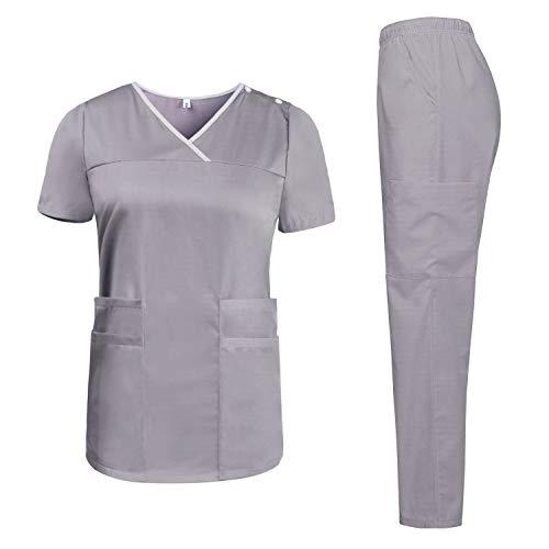 Aibrou Divisa Ospedaliera Casacca e Pantalone Donna - Uniforme Sanitaria Sanforizzato - per Medico, OSS, ASA, Infermiere, Veterinario, Dentista, Estetista
