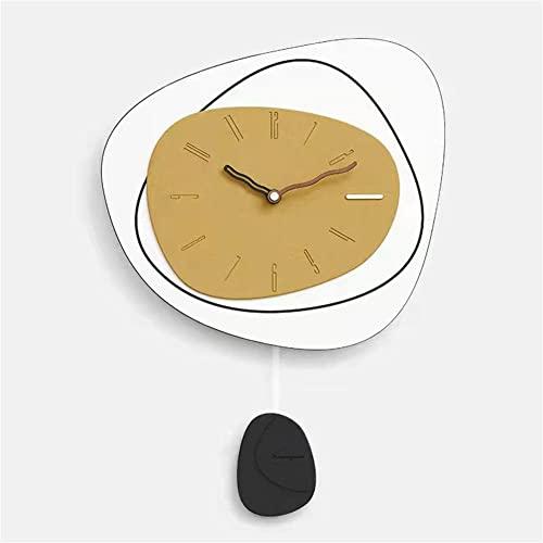Reloj de Pared Moderno con Pendulo, Grande Silencioso No-Ticking Fáciles de Leer Funciona con Pilas Creativo Diseño Minimalista Moda Decoración Hogar Pared Salon Habitacion Oficina-Amarillo