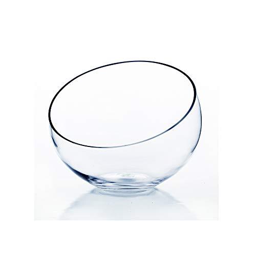 WGV Slant Cut Bowl Glass Vase, Width 9