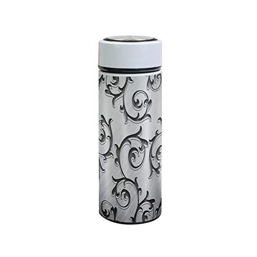 XiangHeFu Wasserflasche Halten Sie kalt oder heiß Geschenk 12oz Sport auslaufsicher Reisebecher Metall Rattan Silber Thermoskanne