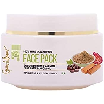 Green & Brown 7 in 1 natural face pack for Depigmentation, Deep Cleaning and Glowing Skin With Sandalwood, Multani Mitti, Jojoba Oil, Almond Oil, Cucumber and Neem, White, 50 ml