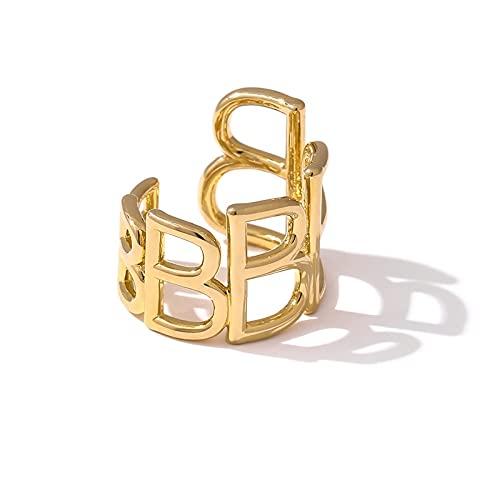 Anillo Clásico Liso Grueso - Creativity Hollow Letter B Charm Finger Ring, Apilable 18 K Mujeres Hombres Anillo De Cola De Temperamento, Navidad Unisex, Amarillo, Talla Única