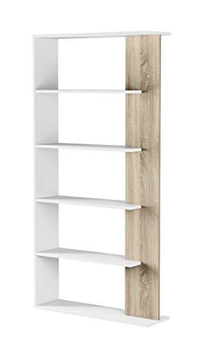 Esidra Libreria Design 5 Scomparti, bifacciale, Bicolore, 90 x 180 x 25 cm