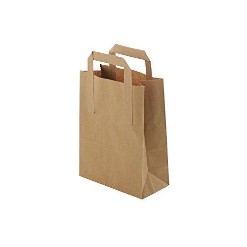 BIOZOYG Umweltschonende Papier Tragetaschen groß I Papiertüten Geschenktüten Papiertragetaschen biologisch abbaubar, kompostierbar I 250 x braune Papier Tüten 18 x 8 x 22 cm