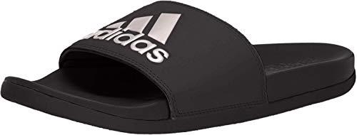 adidas Women's Adilette Comfort Sport Sandal, Black/Vapour Grey Metallic/Black, 9 M US