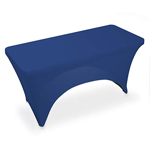 Lann's Linens - 4' Fitted Stretch Tablecloth for 48' x 24' Rectangular Table - Wedding/Banquet/Trade Show - Spandex Cloth Fabric Cover - Royal Blue