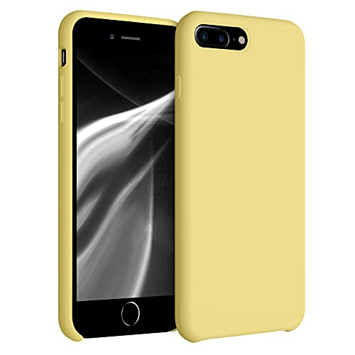 kwmobile Funda Compatible con Apple iPhone 7 Plus / 8 Plus - Funda Carcasa de TPU para móvil - Cover Trasero en Amarillo Trigo
