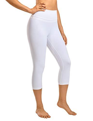 CRZ YOGA Mujer Naked Feeling Leggings Deportivas Cintura Alta Yoga Fitness Pantalones con Bolsillo -48cm Blanco R418 38