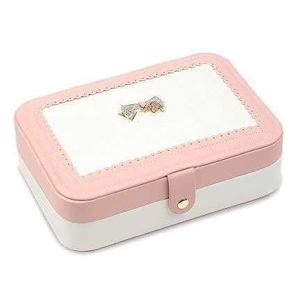 HUIJK Joyero Joyero PU Joyería de Cuero Pendiente de Almacenamiento de Cajas de Almacenamiento de empaque Mostrar Caja Organizador para el hogar Travel Girl Regalo Cajas (Color : Pink)