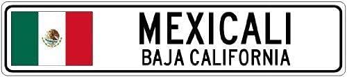 IUBBKI IUBBKI Metallschild aus Aluminium, Mexicali, Baja, Kalifornien, Mexiko, Flagge, Stadt, Blechschild, 20,3 x 30,5 cm