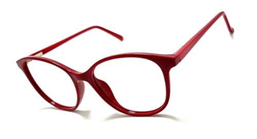 Armação Óculos Feminino Geek Redondo Lentes Sem Grau Yf-8026 (Vermelho)