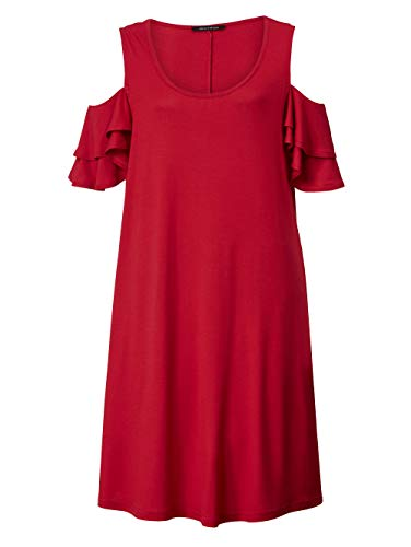 Sara Lindholm Kleid mit Volantsärmel Rot