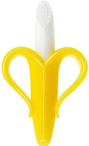Cepillo de dientes y mordedor para bebé de Banana, Mordedor para bebés, mordedores bebes, bebé de silicona dentición de soother de goma de juguete de bebés (yellow)