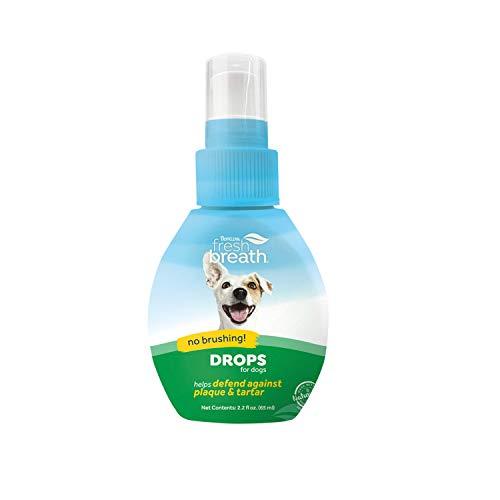 TROPICLEAN Fresh Breath Gotas de Cuidado Bucal para Perros - Sin Cepillado, Combate la Placa - 32 Dosis, 59 ml