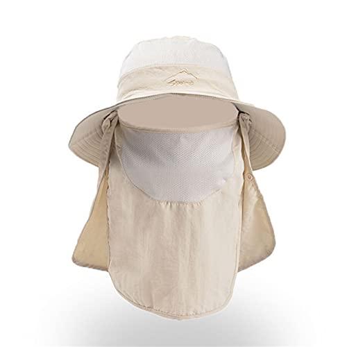 KFGF Sonnenhut, cappello estivo da uomo, per sport all'aria aperta, ad asciugatura rapida, traspirante, coprente, adatto per ciclismo estivo, alpinismo, viaggi in spiaggia, beige., 56/62 cm