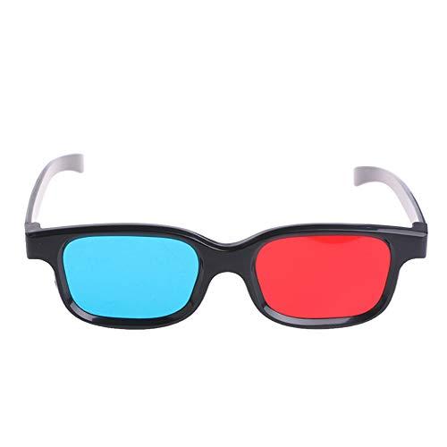 Festnight Universal 3D Glasses Black Frame Red Blue Eyeglasses Cyan Anaglyph 0.2mm ABS Glasses for Movie Game DVD