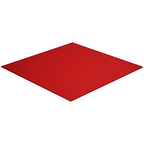 """Acrylic Plexiglass Sheet – 1/8"""" Thick - Heavy Duty Lucite Plastic Board for DIY and Art Projects, Décor and Home Improvement – Weather and UV Resistant - Glass Replacement (12"""" x 12"""", Red)"""