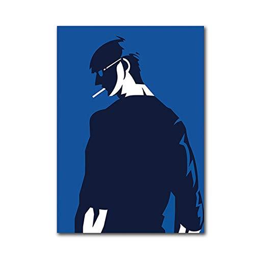 Geiqianjiumai Nordic minimalistische zwarte muurkunst poster rook jeugd decoratief canvas schilderij woonkamermeubels afbeelding