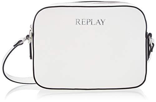 REPLAY Fw3075, Bandolera para Mujer, Blanco (001 White), UNIC